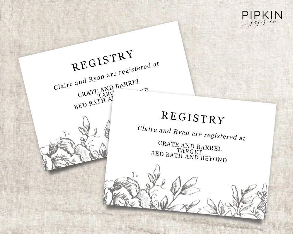 wedding registry cards templates