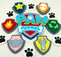 Paw Patrol Cake Topper Logo Badges and Paw Prints Complete