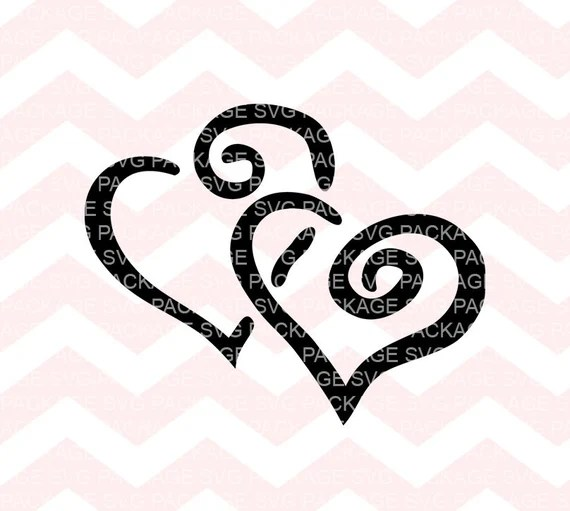 Download SVG Cutting File, Two Heart Svg, Hearts Clipart, Love Svg ...