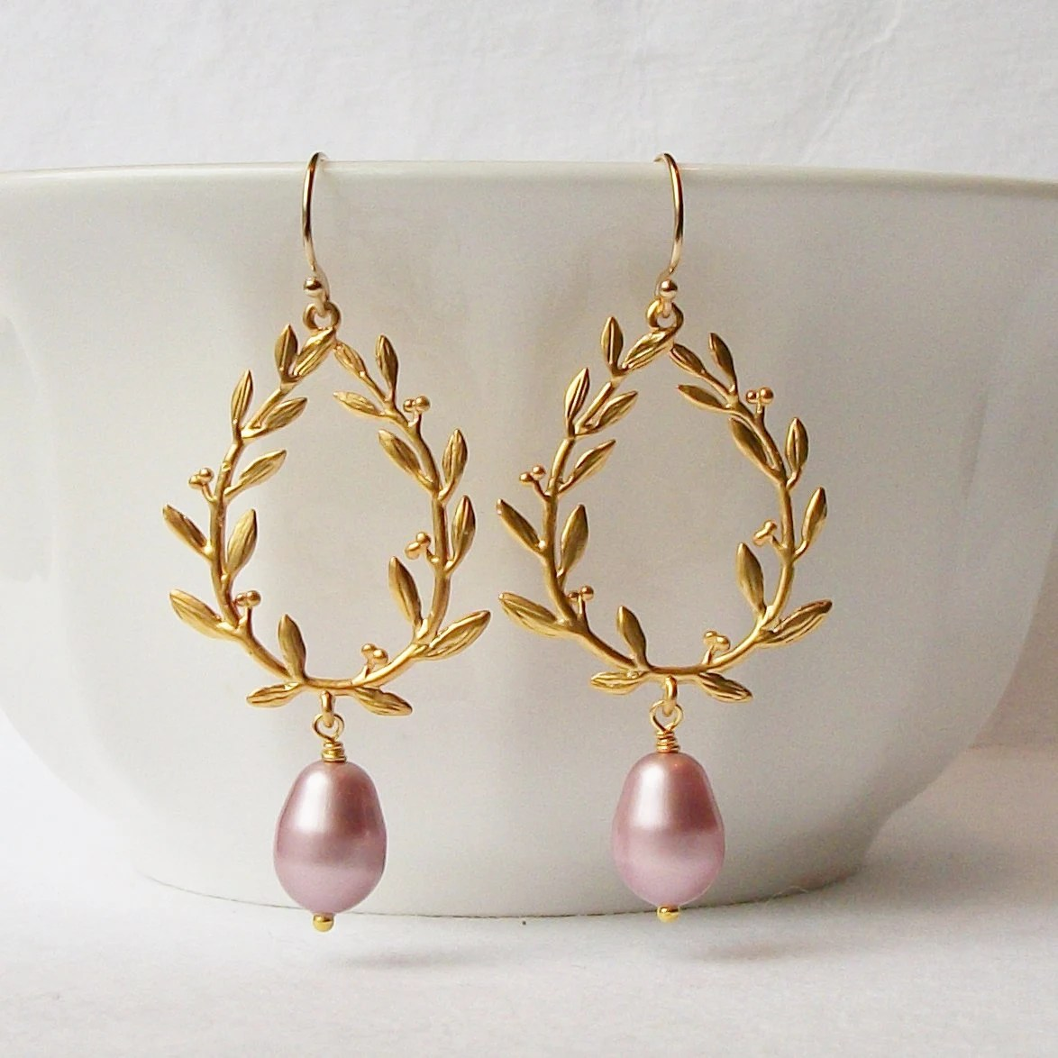 Dusty Rose Blush Pink Dangle Earrings