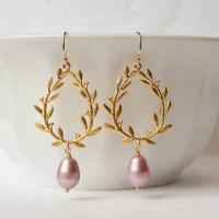 Dusty Rose Blush Pink Dangle Earrings