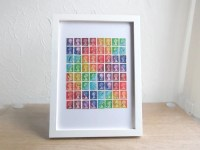 Rainbow Wall Art Upcycled Art British Postage Stamp Collage