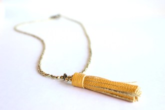 Mustard Tassel Necklace, Tassel Necklace, Leather tassel, Build your own necklace, DIY necklace kit