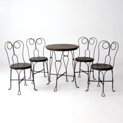 Ice Cream Table And Chairs Gray Dining With Arms Parlor Vintage Black Cafe