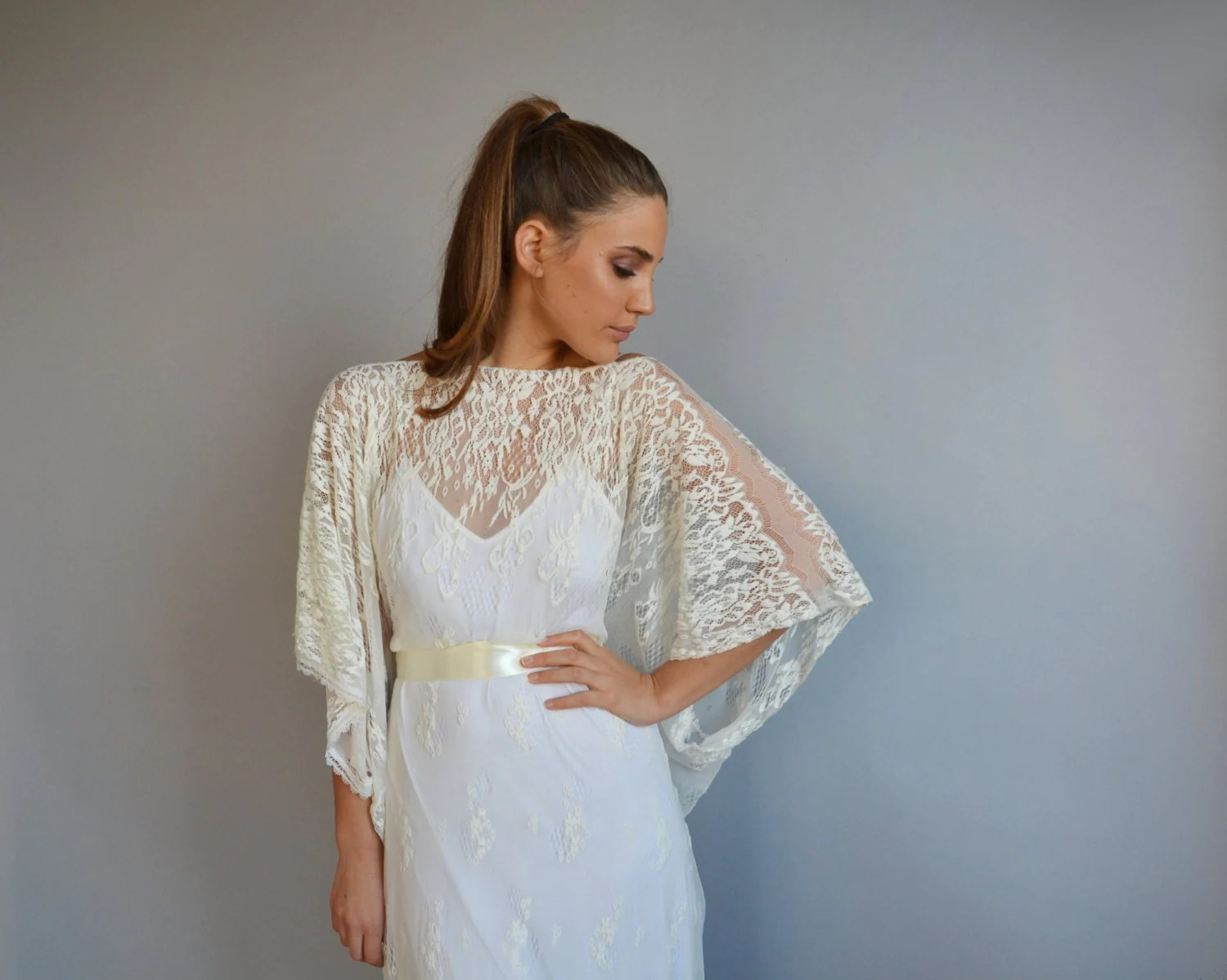 Lace Wedding Dress Kimono Sleeves Wedding Dress Wedding Lace