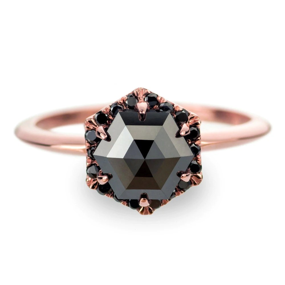 Black Diamond Rose Gold Engagement Ring Hexagon Halo