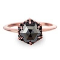 Black Diamond Rose Gold Engagement Ring Hexagon Halo