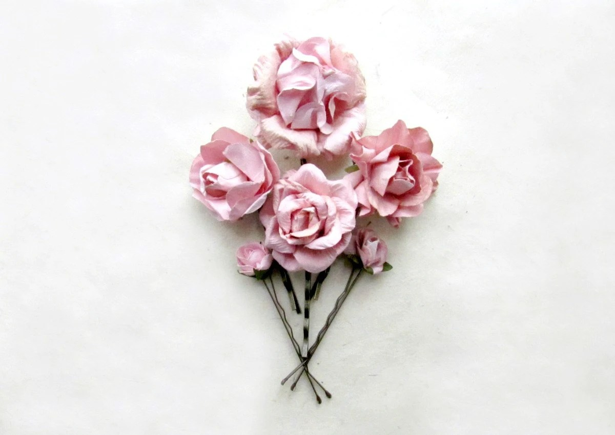 Blush Pink Paper Flower Bobby Pins Set Of 6 Dusty Rose Hair