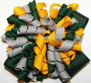 korkers hair bow green gray yellow