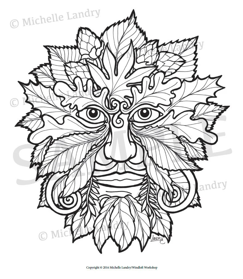 Green Man Adult Coloring Page