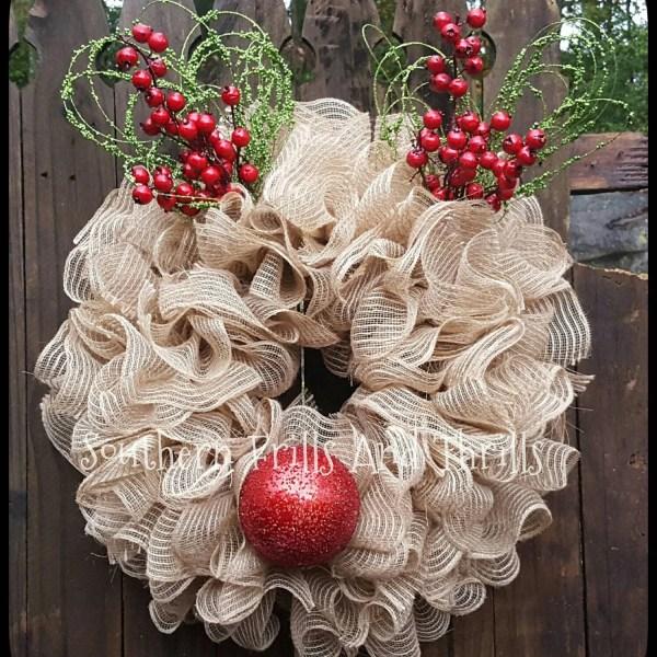 Reindeer Christmas Deco Mesh Wreath