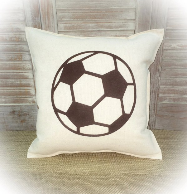 Decorative Pillow With Soccer Ball Silhouette