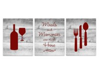 Red Kitchen Wall Art INSTANT DOWNLOAD Fork Spoon Knife Art
