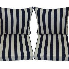 Navy Blue Patio Chair Cushions Red Covers Amazon And Ivory Stripe For Outdoor Deep