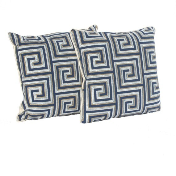 "Embroidered Decorative Pillow covers – Navy, Light Blue and Tan Geometric Pattern- Designer Fabric- 20"" Pillows - Hidden Zipper Closure"