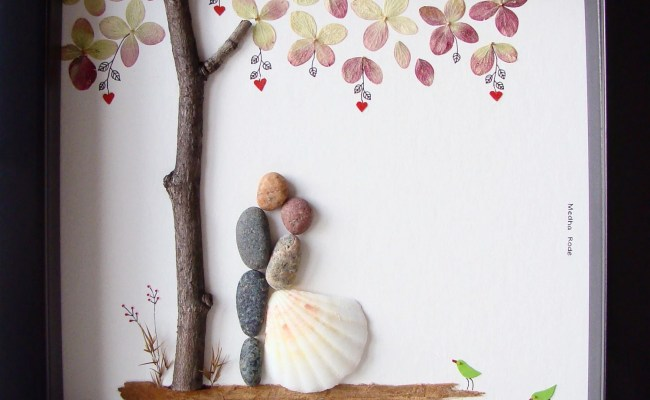 Unique Wedding Gift For Couple Wedding Pebble Art By Medharode