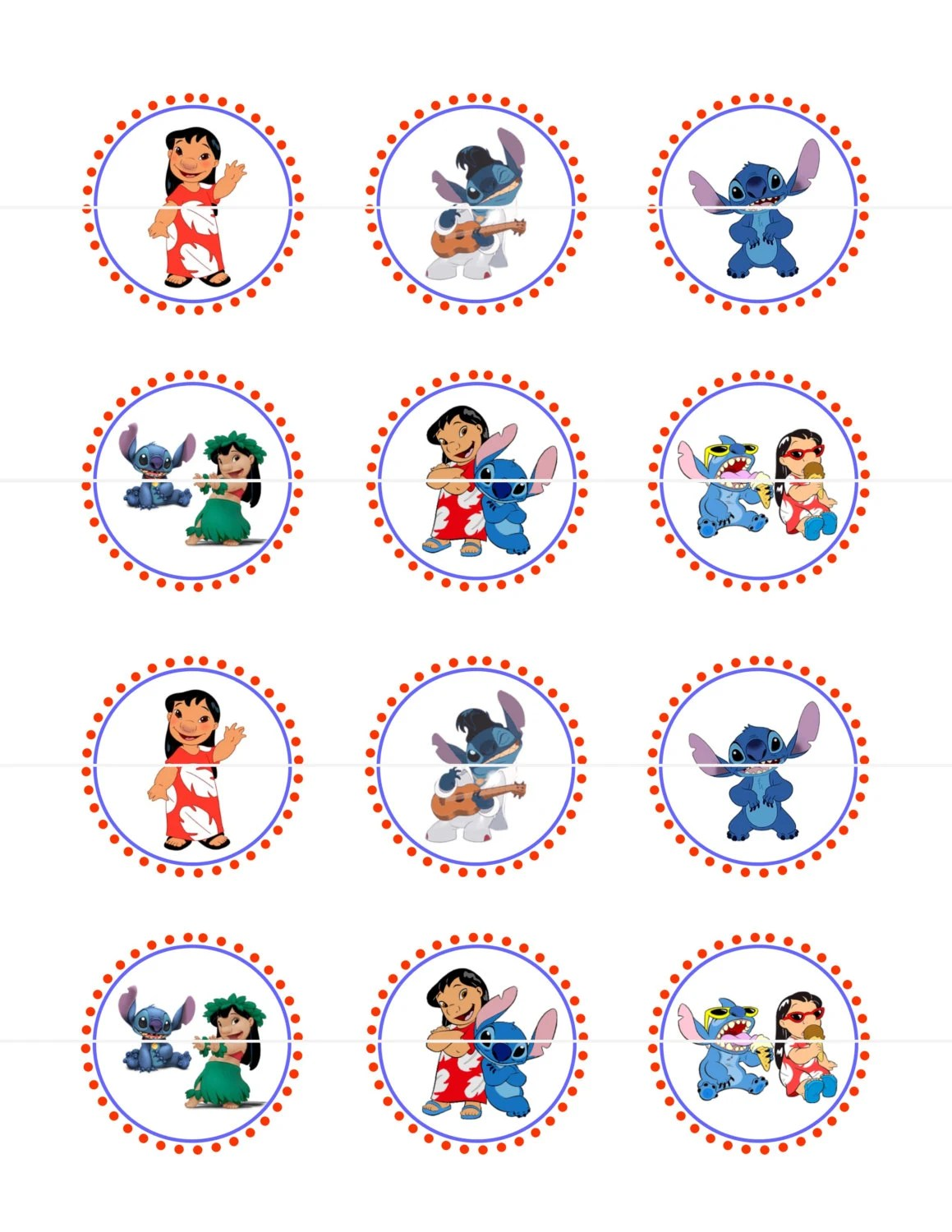 Lilo And Stitch Cupcake Toppers Stickers Diy Printable File