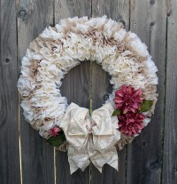 Romantic Victorian Style Cream Wreath for Front Door Elegant