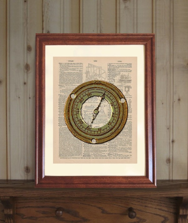 Steampunk Dictionary Print Antique Steam Gauge Drawing
