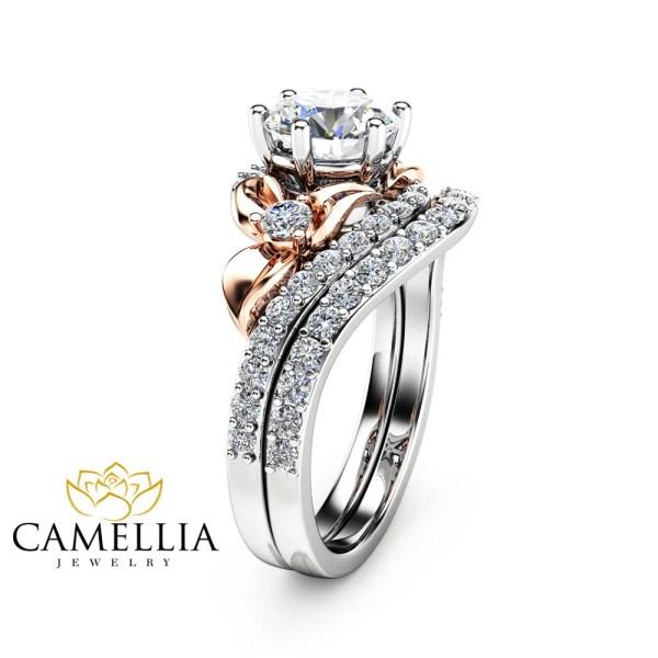 Moissanite Unique Engagement Ring Set 14K Two Tone Gold