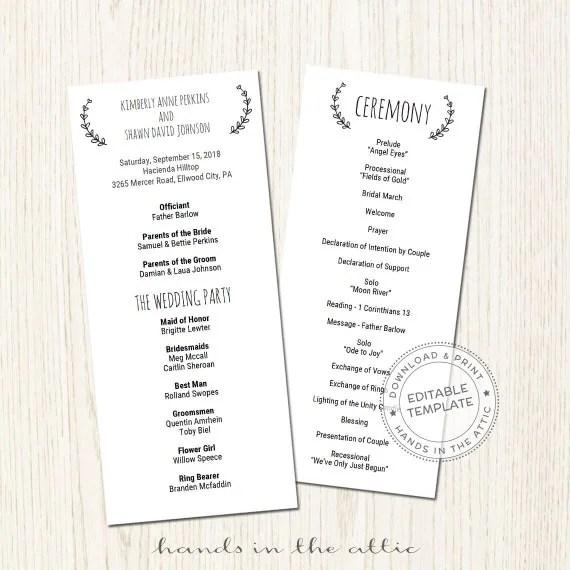 Printable wedding program template download, wedding