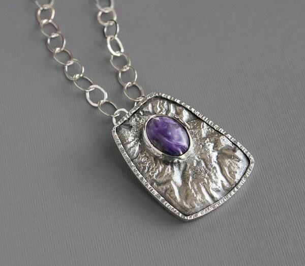 Silver Pendant Necklace Art Jewelry Modern Design Contemporary