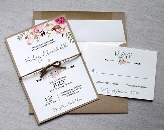 Rustic Floral Boho Wedding Invitation Modern Rustic Wedding