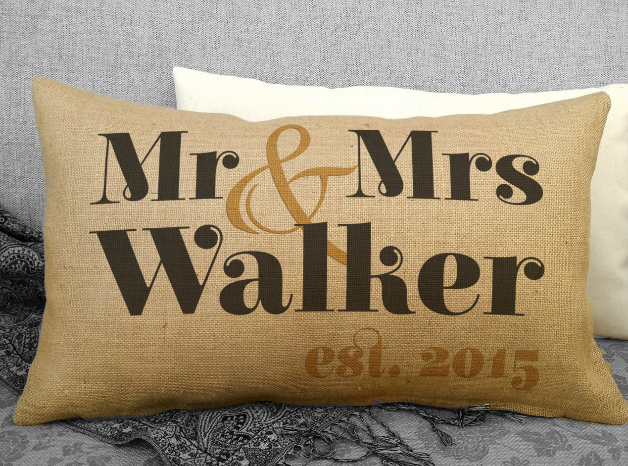 Rustic Mr and Mrs Wedding Pillow Personalized Wedding Gift