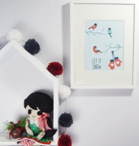 Winter Wall Art Let it snow Christmas art by HayahDesigns
