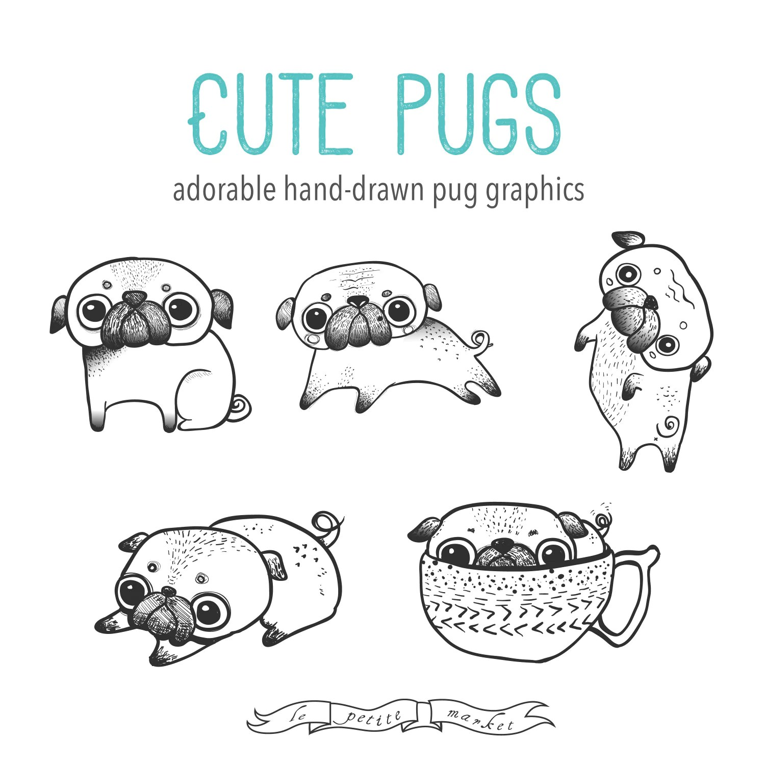 Hand Drawn Cute Digital Pug Clipart Illustration Printable
