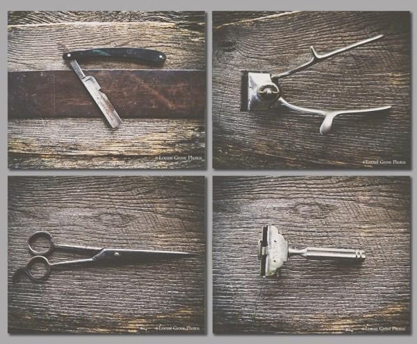 Set Of 4 Vintage Barber Tool Prints Wall Art