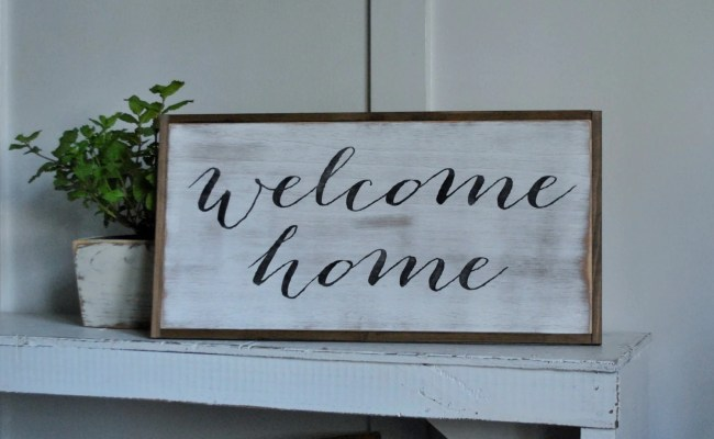 Welcome Home 1 X2 Entry Sign Distressed Rustic Wall