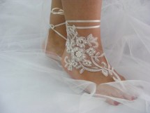 Ivory Lace Beaded Barefoot Sandals Beach Wedding