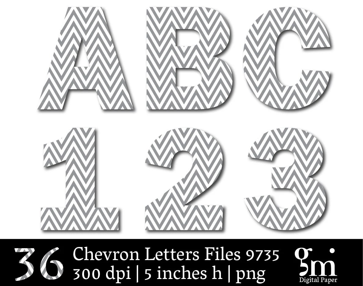 "Black & White Chevron Alphabet• 91pp PDF 91PNGs • 5"" High"