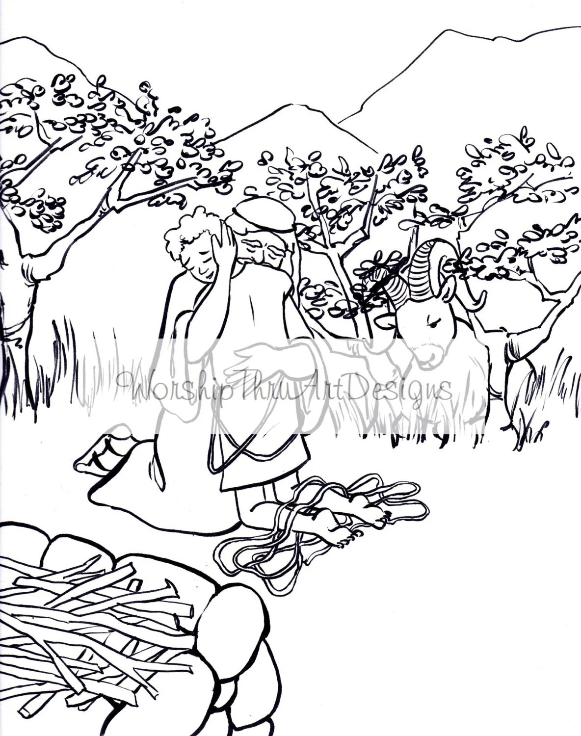 Printable Coloring Page Abraham and Isaac by