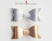 faux leather bow clips. gold hair
