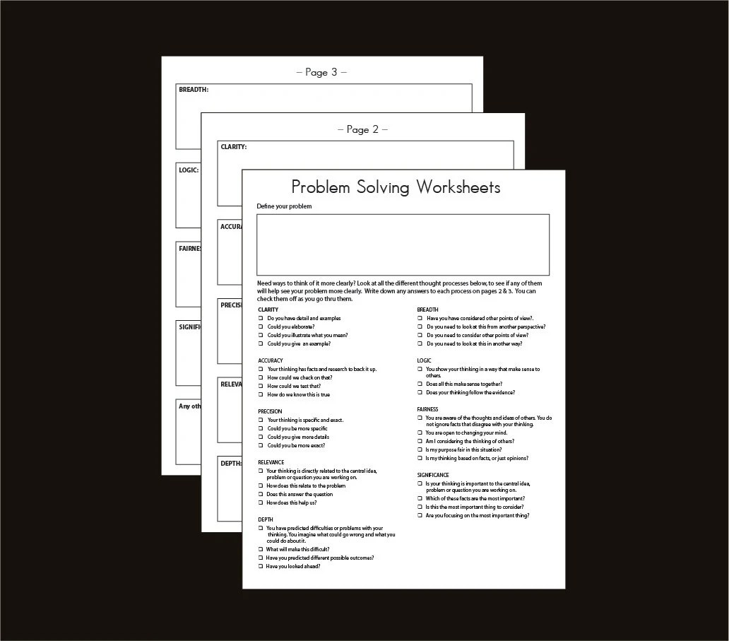Printable Problem Solving Brainstorming Worksheet For