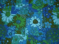 Vintage Flower Fabric Blue Green Mid Century 1960's from ...