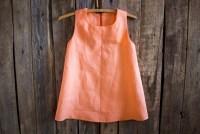Orange Linen Dress Flower Girl Summer Dress Rustic Wedding