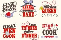 Kitchen cute quotes machine embroidery designs 4x4 mini