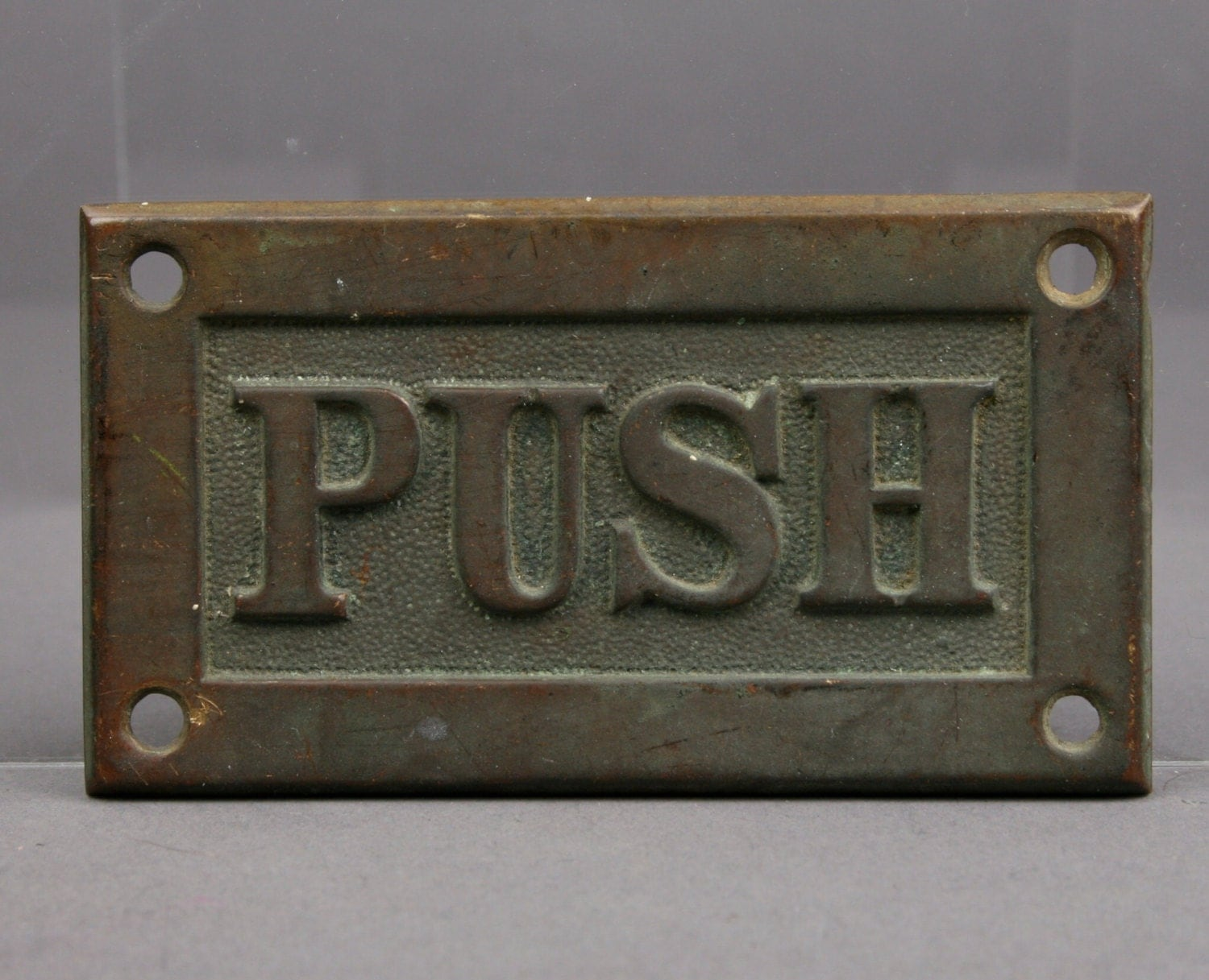 Vintage brass push plate for door furniture or upcycle for Door push plates