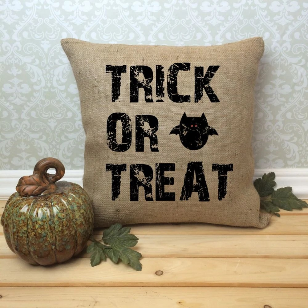 Halloween Pillow Cover Trick or Treat Rustic Halloween Home