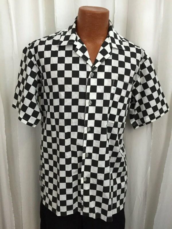 Vintage Handmade Checkered Flag Shirt.short Sleeve.button