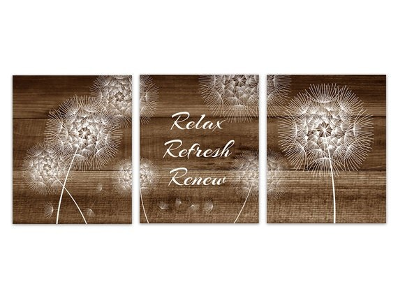 Brown Bathroom Wall Art Dandelion Bathroom INSTANT DOWNLOAD