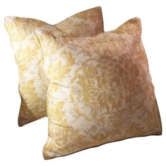 Yellow and gray  damask decorative pillow 20x20