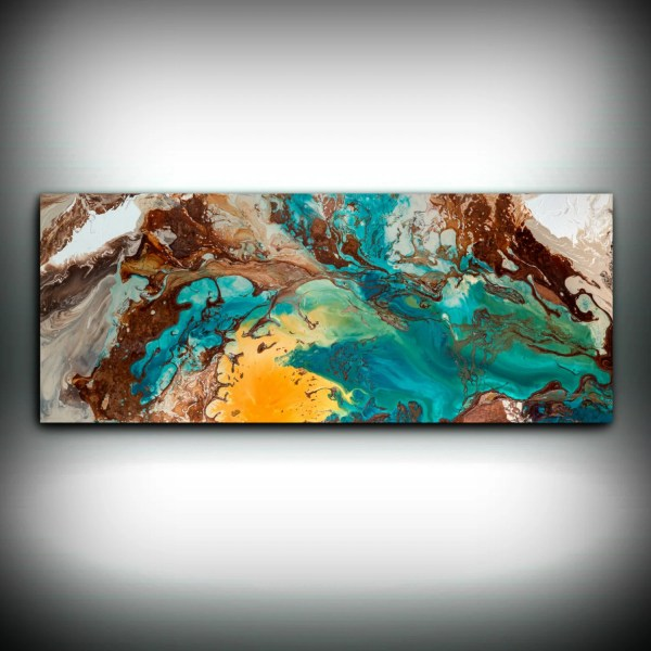 Canvas Wall Decor Large Abstract Art Print Blue Brown