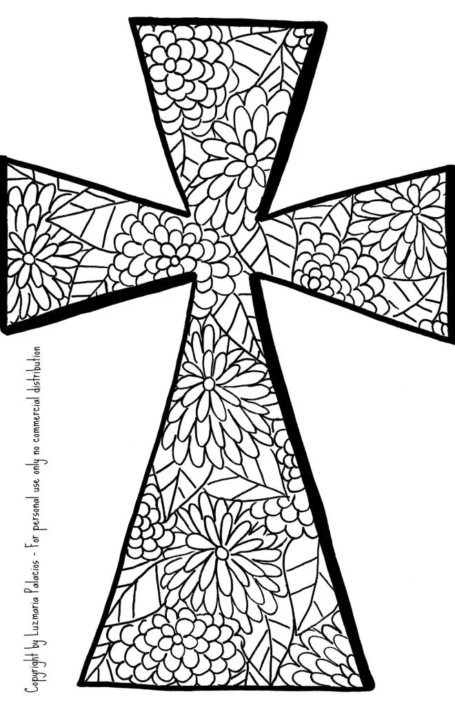 Christian Coloring Book Page Cross