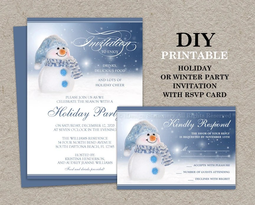 Snowman Holiday Party Invitation With Rsvp Card Printable
