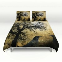 Primitive Grunge Bedding Duvet Cover Set Tree Moon and
