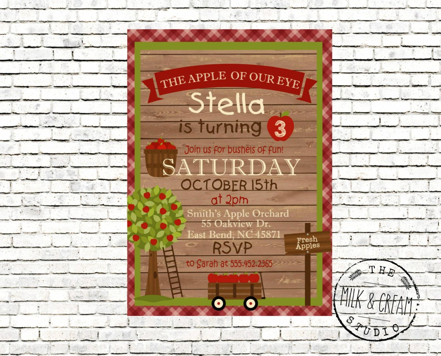 Apple Orchard Birthday Party Fall Birthday Party Invite